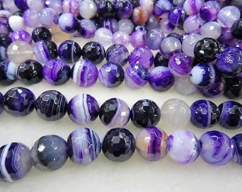 purple banded agate facted round bead 12mm 15.5 inch strand