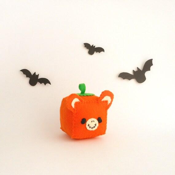 Pumpkin Bear Halloween Pincushion, stuffed and soft toy, ready to ship
