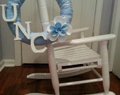 UNC (University of North Carolina) Yarn Wreath with a Handmade Flower and Letters