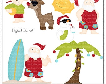 Summer Santa Cliparts - Digital Clip Art , Commercial Use Clipart, Scrapbook, Printable - Instant Download