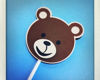 Cuddly Teddy Bear Cupcake Toppers - Set of 12