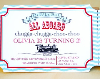 Vintage Custom Train Ticket Invitation