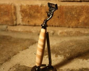 Mach 3 Razor With Hand Turned Tiger Maple Handle and Stand Great Gift for Dad
