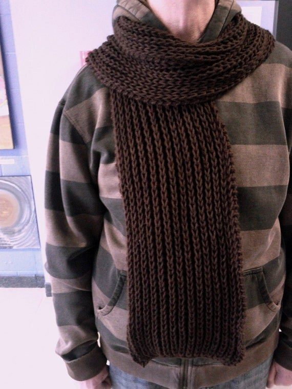 Knitting Patterns Mens Scarves : Items similar to Brown Extra Long Scarf, Unisex Scarf MENS Knit Scarf Ch...