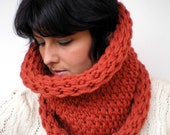 Roll-On Brick  Double Spirit Cowl Super Soft  Wool Neckwarmer Unisex Double Face Reversible Big  Chunky Cowl