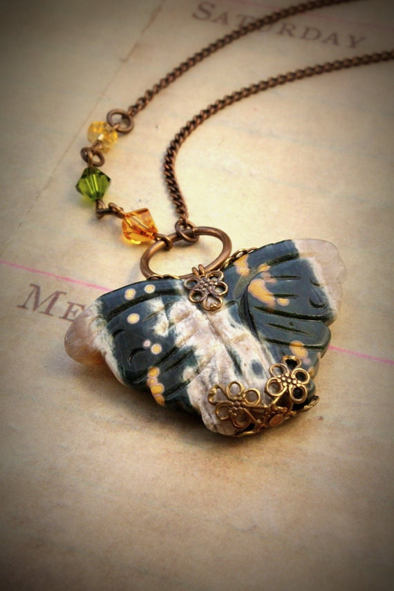 Hidden Wings Brass Hand Rendered Filigree Necklace - OLD STOcK