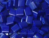 TL414 Miyuki Tila 5 gram in bead pot flat two hole Cobalt opaque royal blue beads