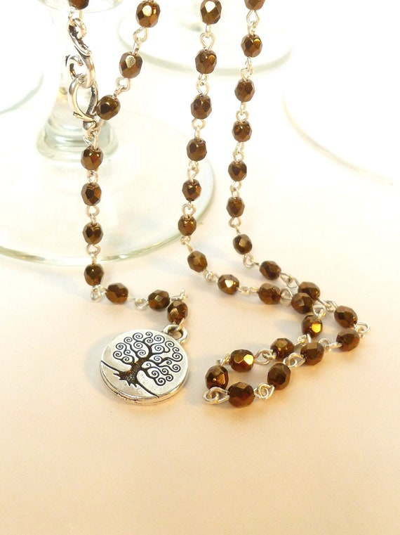 Copper Crystal and Silver Tree of Life Rosary Style Adjustable Extra Long Necklace with Silver Shephard's Hook Clasp