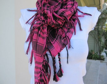 Unisex braided scarf-houndstooth check-Plaid-Black fuchsia pink-gauze linen-Man fashion-mad-men's-women's-Turkey 2013 trends FASHION scarves