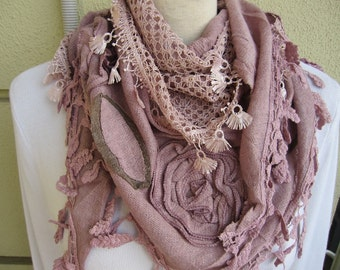 Dusty pink triangle shawl scarf  Turkish woman winter scarf- knit fabric with lace edge scarf- women's scarves 2016 - gift for woman - girl