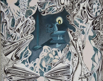 Original Painting Surreal Abstract Organic Shapes Plant Anatomy Structures Surrounding Tomb at Night with Flame 29 1/2 X 22 Gray Tones