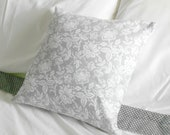 Reserved for Christina Grey White Pillow Cover Floral Design 16 X 16