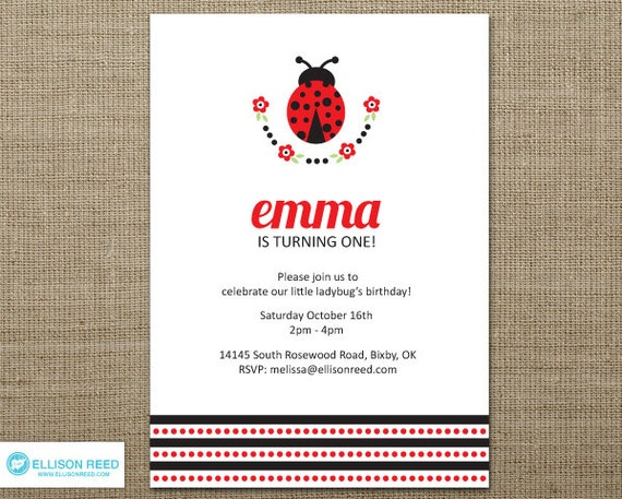 Ladybug Invitation - First Birthday - Ladybug Printable - Birthday Invitation - bug invitation - flowers - red - black - Polka Dots