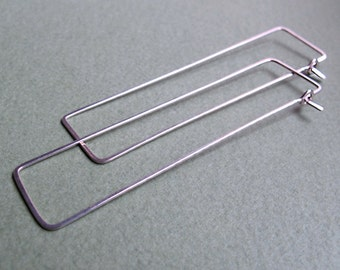 Rectangle Hoop Earrings, Sterling Silver Modern Earrings - Thin and hammered geometric Hoops - Rectangle Earrings - Geometric Hoops. Unique