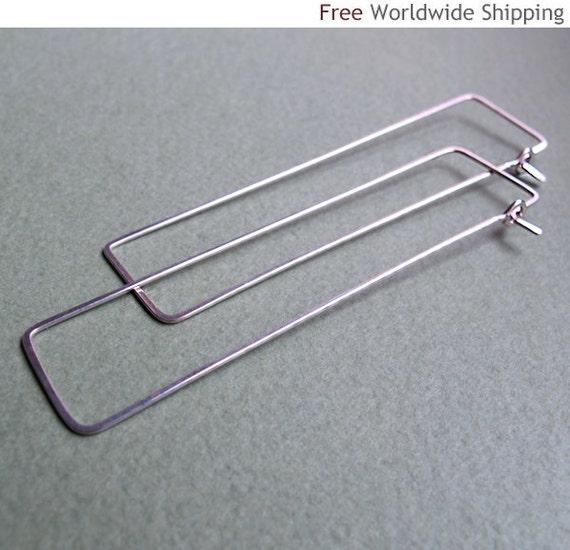 rectangle hoop earrings sterling silver modern by