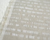 Verses in Alabaster White : organic linen/organic cotton handprinted fabric panel