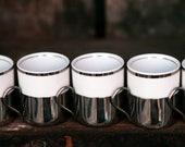 Brazilian Porcelain Silver Plate Demi Tasse Cups, Set of 5