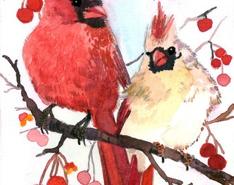 ACEO Limited Edition 19/25- Winter cardinal on a berry tree, Art print of an original ACEO watercolor, Small gift idea for bird lovers