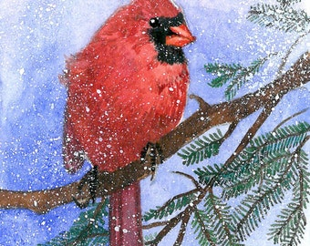ACEO Limited Edition 12/25- Cardinal in snow, Art print of an original ACEO watercolor painted by Anna Lee, Bird art, Small gift idea