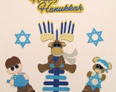 Happy Hanukkah paper piecing premade Scrapbook Embellishments