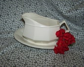 White Ironstone Gravy Boat And Platter