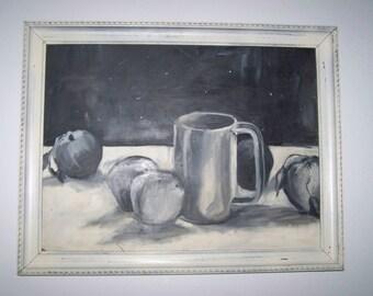 Vintage Black White Still Life Original Painting