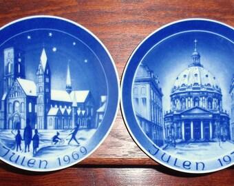 "2 GERMAN PORCELAIN BACO Plates 7 3/4"" Blue White Pierced Back Church Scenes Christmas Julen 1969 1970 Set Two Pair  Excellent Condition"