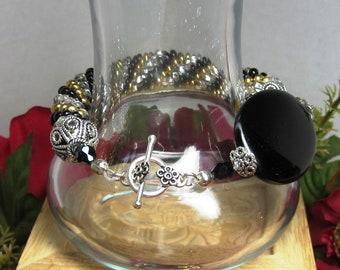 Bead Crochet Bracelet, Sterling Silver Bracelet, Black Onyx Bracelet, Crystal Bracelet, Gold