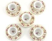 Vintage Porcelain Demitasse Cup and Saucer Set, Goldcastle Hostess, Tashiro Japanese Porcelain, Rose Flowers Floral China, 1950s 1960s