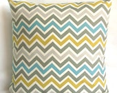 Blue Decorative Pillow Cover - Chevron Stripes, Optional Zipper - 16x16 or 14x14 inch Cushion Cover - Blue Yellow Grey Zig Zag
