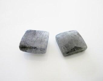 GCF-1184 - Black Rutiled Quartz Faceted Cabochon - Square 12mm Gemstone - AA Quality - 1 Cab