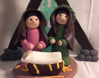 Polymer Clay Holy Family Nativity - size 3 inches tall