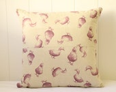 Pink Duck and Purple Polka Dot Linen Cushion Cover