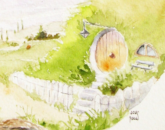 Hobbiton Bag End watercolor green landscape art print