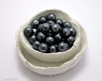 Czech Glass Bead 8mm (20) Slate Gray Pearls Round druk beads. Opaque last
