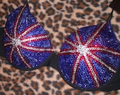 Full union Jack flag Crystal T-Shirt Bra In Black White or Nude Any Cup Size A-G Any Countrys Flag