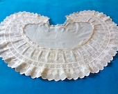 Antique ivory broderie anglaise, cutwork and valenciennes lace collar from Belgium circa late 1800's