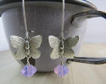 Silver plated butterfly earrings soft lilac Czech glass bead