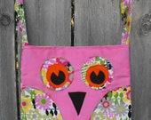 Owl Bag - pink / flower (small bag)