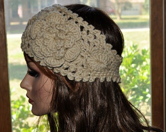 Crochet Ear Warmer, Handmade Crochet Headband with Flower. Fall and Winter, Style 1WF