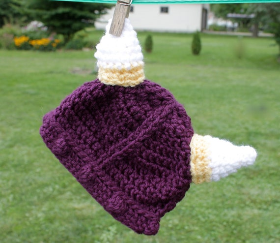 Minnesota Vikings Newborn Crochet Hat, Photography Prop