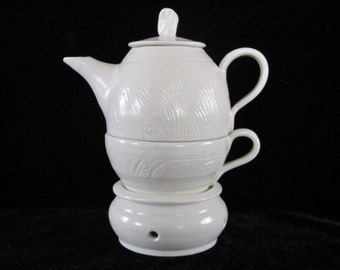 Hand Thrown Tea Set for One, White Stoneware Tea Pot, Tea Cup and Tea Pot Warmer, Made to Order