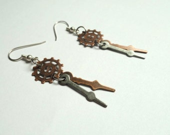 Steampunk Dangle Earrings - Clock Hand Earrings - Steampunk Jewelry - Watch Earrings - Victorian Jewelry - steampunk Earrings - Steampunk