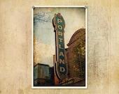 Portland Oregon Sign Photograph--Fine Art Distressed Lomography 8x12