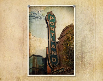Portland Oregon Sign Photograph--Fine Art Distressed Lomography 8x12