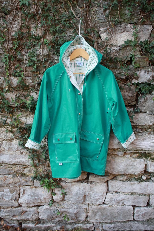 Light Teal Rainjacket Checked Interior Vintage Raincoat