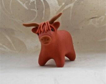 Highland Cow- Handmade Polymer Clay totem desk buddy ornament decoration scottish
