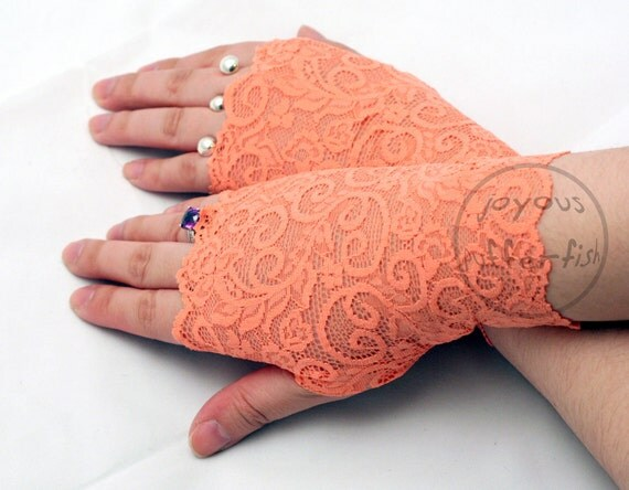 Pair of Fingerless Lace Gloves (Orange Sherbet)