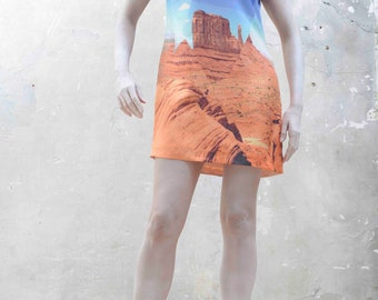 ON SALE Monument Valley printed silk dress