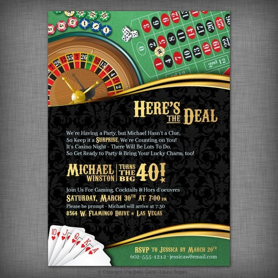 Casino Theme Invitation For Birthday Party By CheBellaCarta